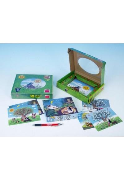 Kostky kubus Krtek/Krtečkův rok dřevo 12ks v krabičce 22x17x4cm
