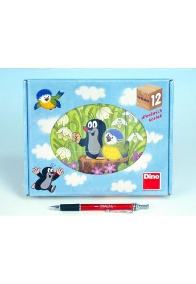 Kostky kubus Krtek a ptáček dřevo 12ks v krabičce 22x17x4cm