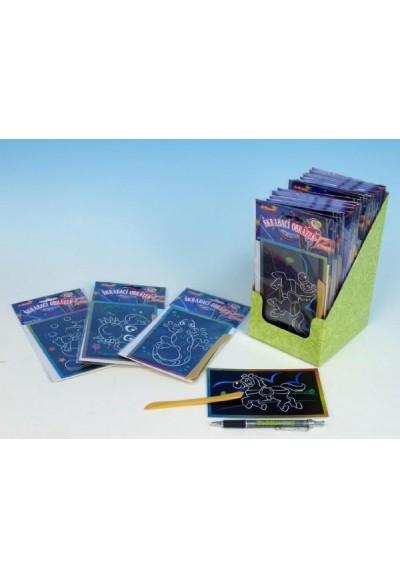 Škrabací obrázek třpytivý barevný 15x10cm 24ks v boxu