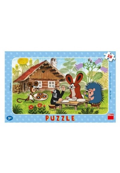 Puzzle deskové Krtek na návštěvě 29,5x19cm 15 dílků