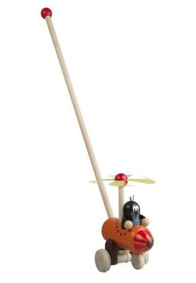 Strkadlo Krtek a vrtulník dřevo 60cm tlačící s tyčkou v sáčku 12m+