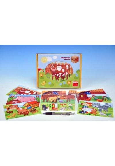 Kostky kubus Domácí zvířátka dřevo 12ks v krabičce 22x17x4cm