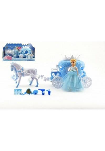 Kůň s kočárem + panenka s doplňky plast 40cm v krabici
