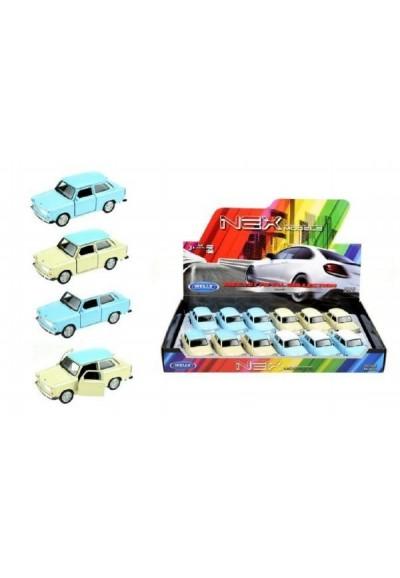 Auto Welly Trabant 601 kov 10cm asst 4 barvy volný chod 12ks v boxu
