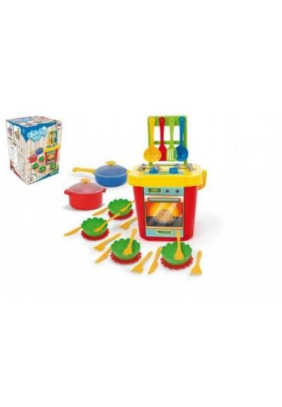 Kuchyň s nádobím plast 31ks v krabici 30x43x30xcm Party World Wader