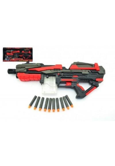 Pistole na pěnové náboje 10ks plast 54cm na baterie v krabici
