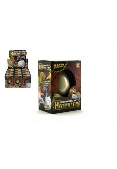 Dinosaurus líhnoucí a rostoucí z vajíčka 6cm v krabičce v 12 ks v boxu