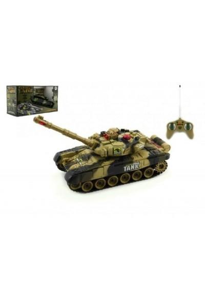 Tank RC T-80 plast 25cm s dobíjecím packem+adaptér na baterie asst 2 druhy v krabici
