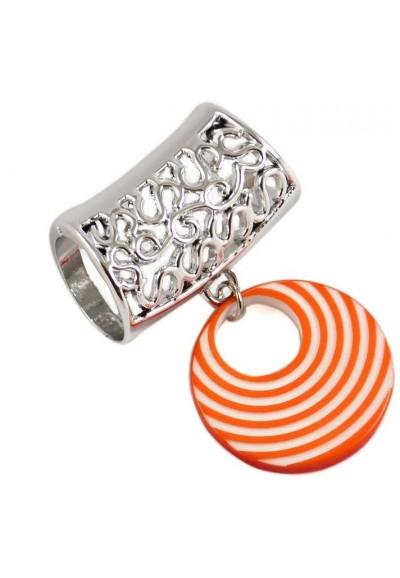 Přívěsek na šálu up100-11.01 - pruhovaný oranžový kroužek