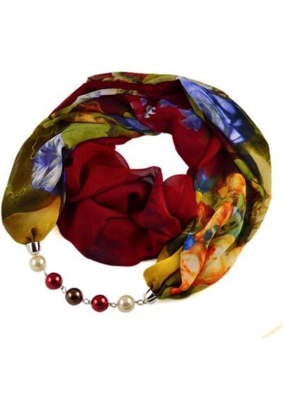 Šála s bižuterií Extravagant 396ext004-22.52 - červenozelená s květy
