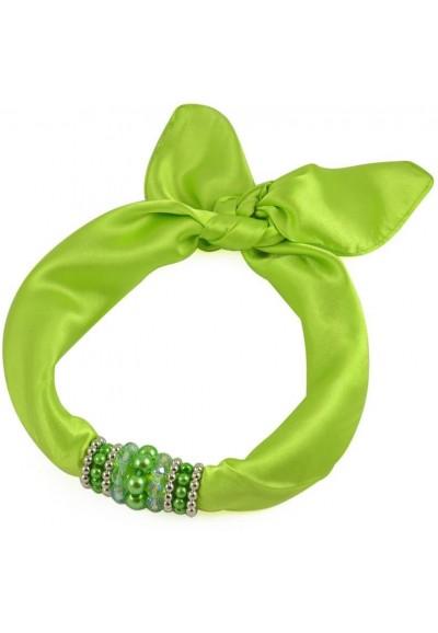 Šátek s bižuterií Letuška 299let001-51 - zelený