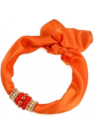 Šátek s bižuterií Letuška - oranžový