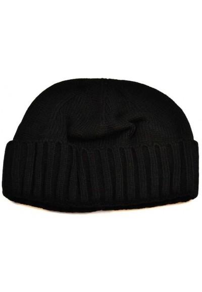 Pletená panská čepice - černá