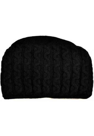 Pletená dámská čepice - černá