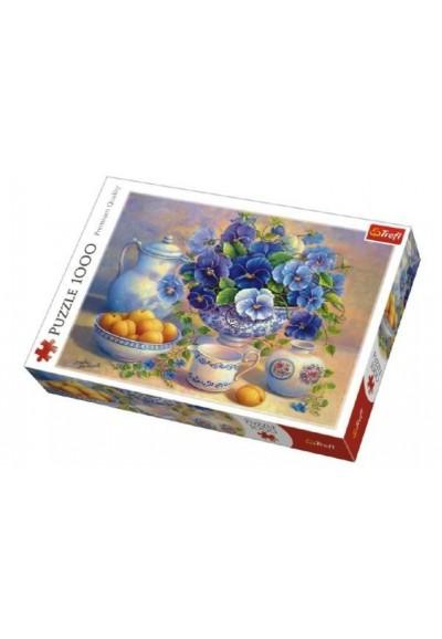 Puzzle Modrá Kytice 1000 dílků v krabici 40x27x6cm