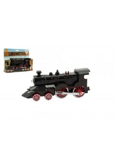 Lokomotiva/Vlak plast/kov 15cm asst 2 barvy na baterie se zvukem se světlem v krabičce CZ design