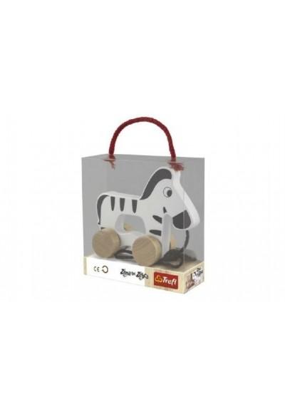 Zebra na kolečkách a s provázkem dřevěná Wooden Toys v krabici 15x16x6cm 12m+
