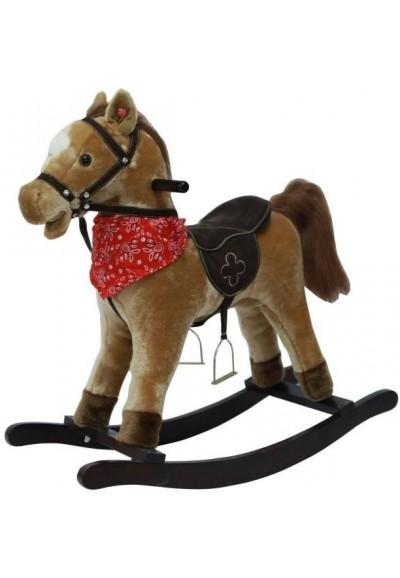 Kůň houpací hnědý plyš na baterie 71cm se zvukem a pohybem nosnost 50kg v krabici