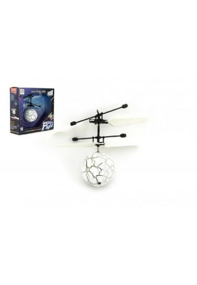 Vrtulníková koule barevná létající plast 13x11cm s USB kabelem na nabíjení v krabičce