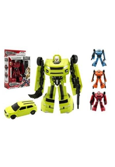Robot/auto transformer plast 18cm asst 4 barvy v krabici 19x22x6cm