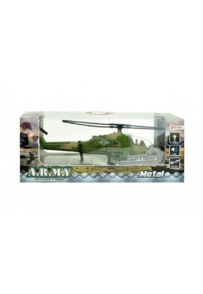 Helikoptéra vojenská plast 18cm na baterie se světlem se zvukem asst 2 barvy v krabici
