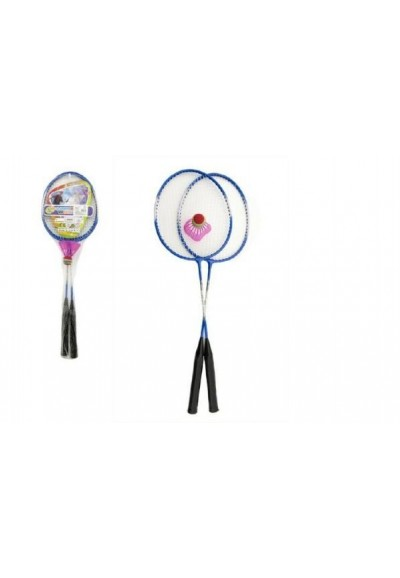 Badminton kov 2 pálky a 1 míček asst 3 barvy v síťce
