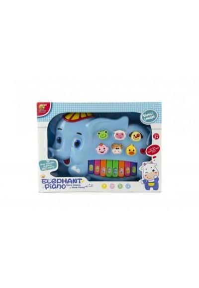 Piánko slon se zvířátky plast 28cm na baterie se zvukem se světlem v krabici 32x23x6cm