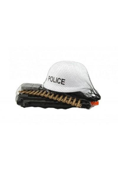 Sada policie helma+samopal na setrvačník s doplňky plast v síťce