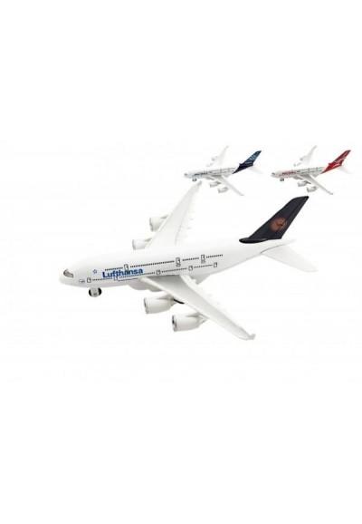 Letadlo kov/plast 22cm na volný chod 3 druhy 6ks v boxu