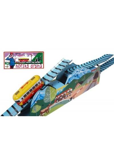 Horská dráha na klíček kov 120cm v krabici Kovap