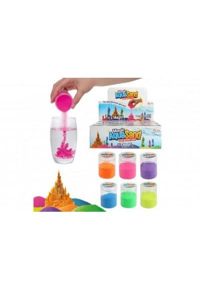 Písek vodní kouzelný 6 barev v plastové dóze 12ks v boxu