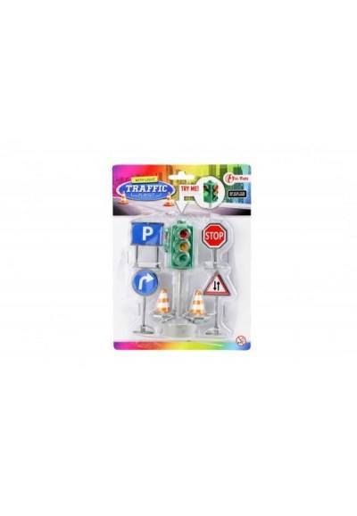 Semafor funkční + značky plast 12cm na baterie se světlem na kartě 15x20x4cm