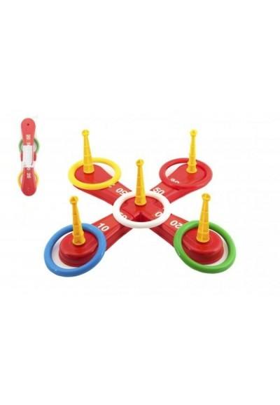 Házecí hra plast kříž s kruhy v síťce