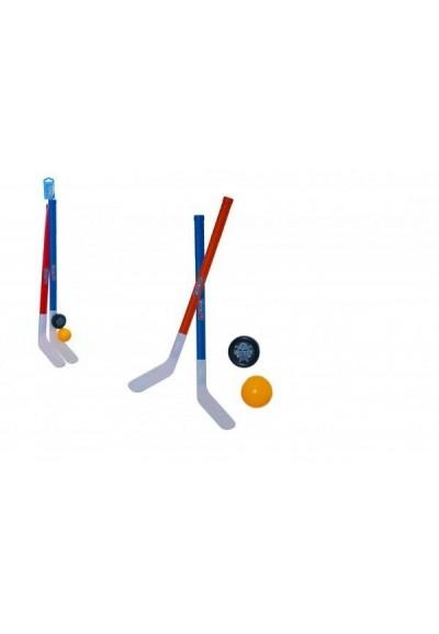 Hokejka pozemní 2ks plast 72cm + florbalový míček + puk v síťce