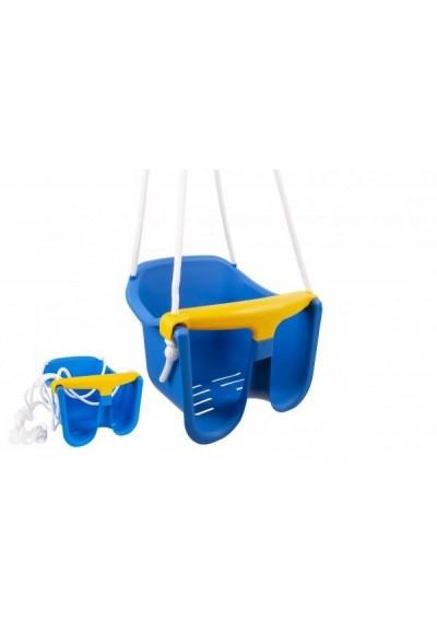 Houpačka Baby modrá plast 33x30x28cm nosnost 25kg v síťce 12m+