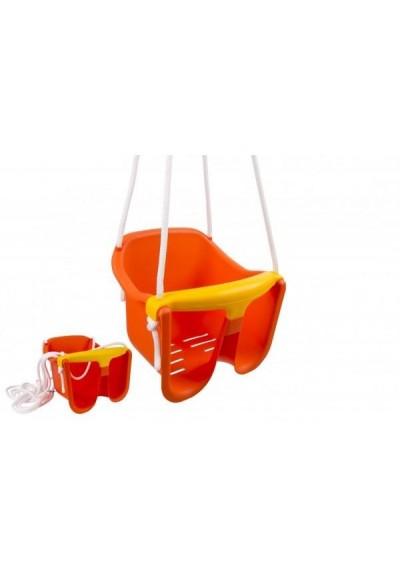 Houpačka Baby oranžová plast 33x30x28cm nosnost 25kg v síťce 12m+