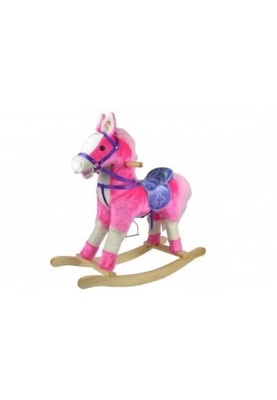 Kůň houpací růžový plyš na baterie 71cm se zvukem a pohybem nosnost 50kg v krabici 62x56x19cm