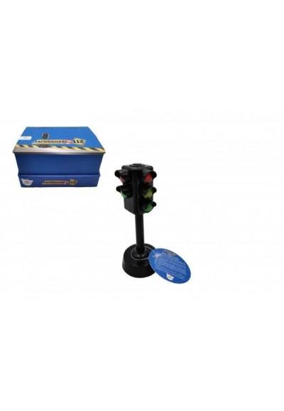 Semafor funkční plast 12cm na baterie se světlem se zvukem 12ks v boxu