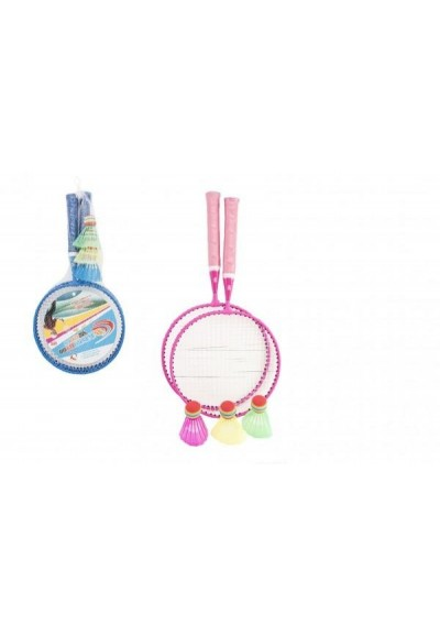 Badminton sada dětská kov/plast 2 pálky + 3 košíčky 2 barvy v síťce 23x45x6cm