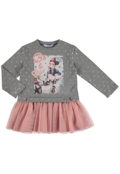 Mayoral - dívčí šedo-růžové šaty