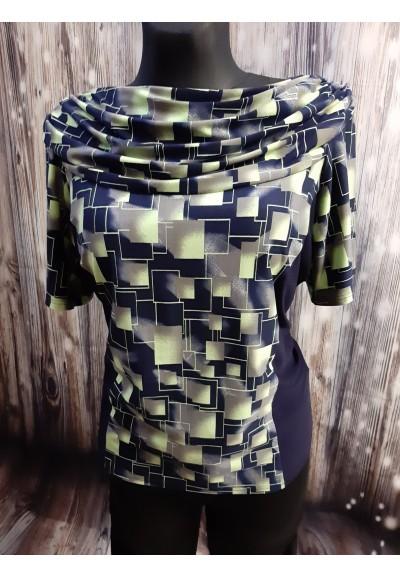 INA - tričko černé se zeleným vzorem