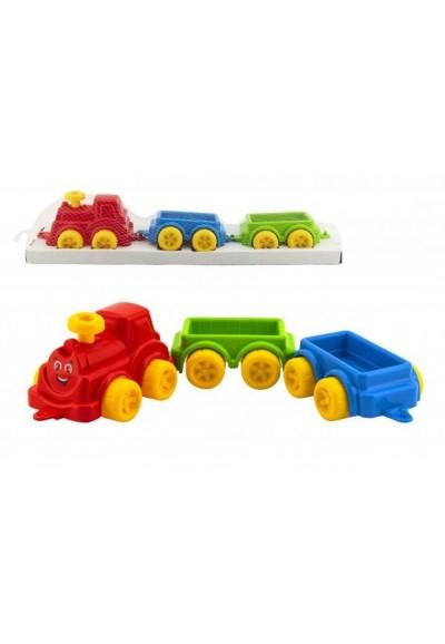 Vlak/Vláček s vagónkami 60cm plast v síťce 16x63x13cm 12m+