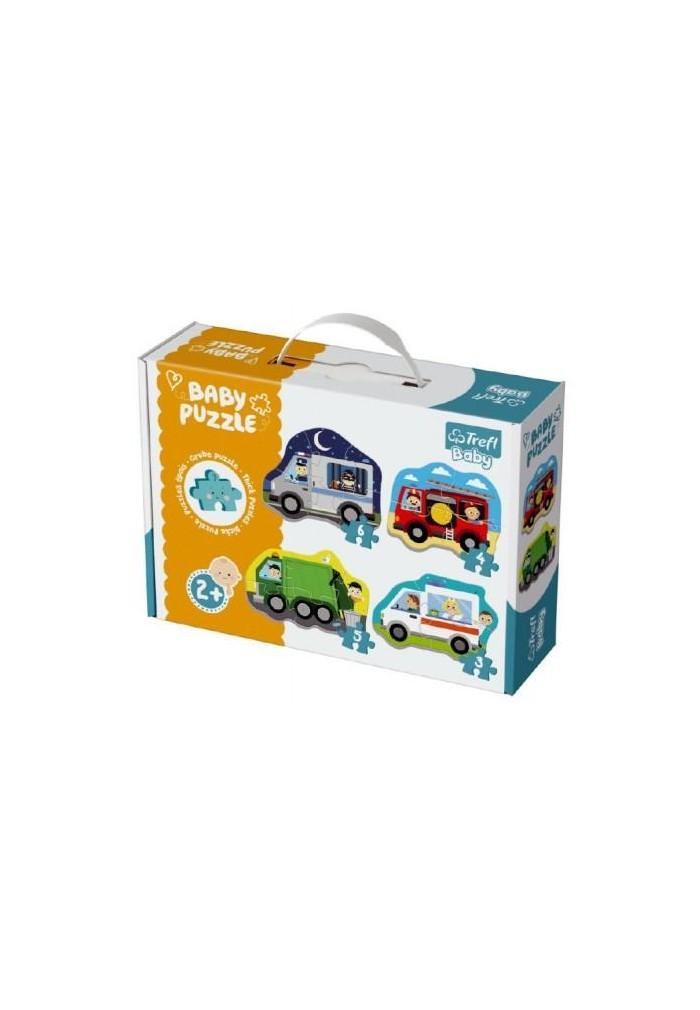 Puzzle baby dopravní prostředky 4ks v krabici 27x19x6cm 2+