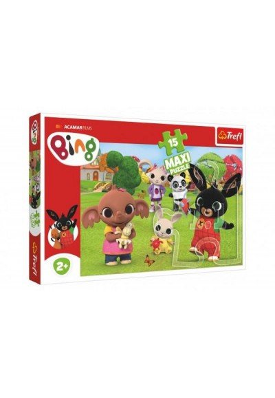 Puzzle Maxi 15 dílků Bing Bunny Bing s přáteli 60x40cm v krabici 40x26,5x4cm 24m+