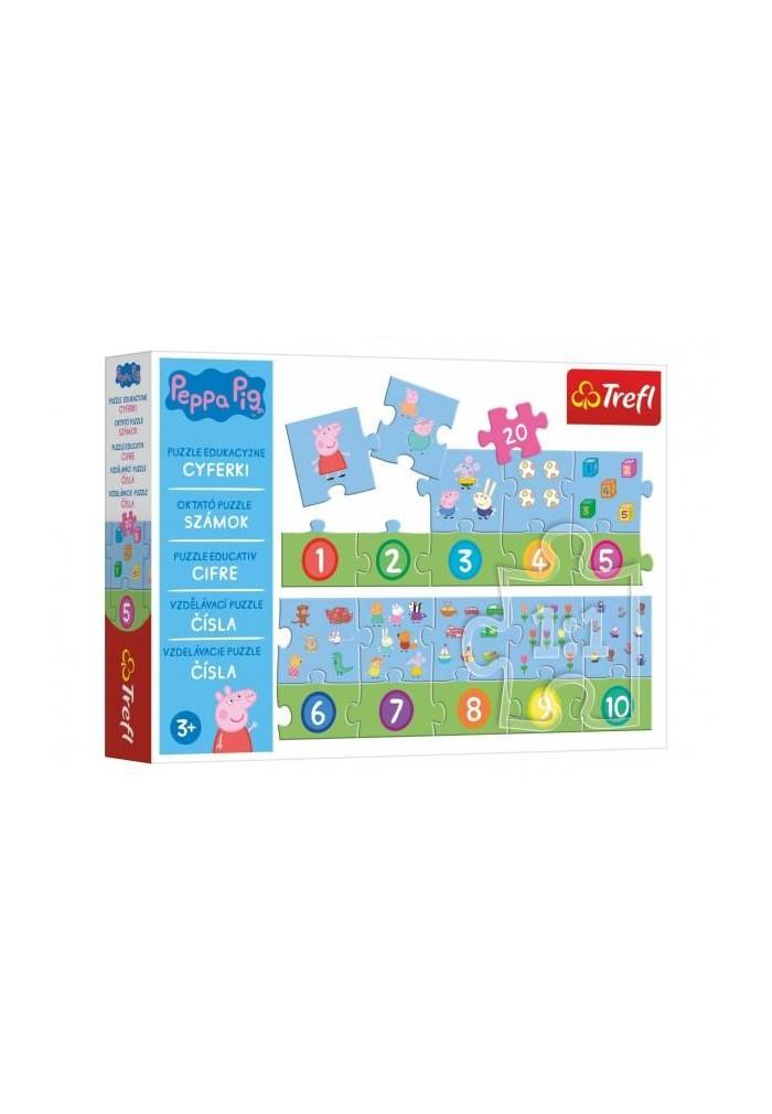 Puzzle vzdělávací Čísla Prasátko Peppa/Peppa Pig 20 dílků 117x19,5cm v krabici 33x23x6cm