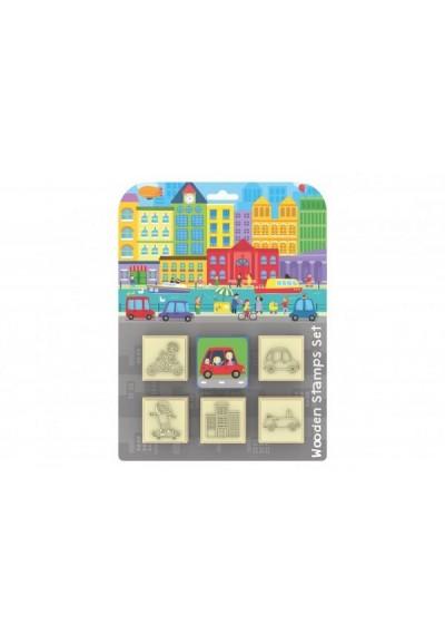 Razítka 5+1 s poduškou 4,5x4,5cm dřevěná na kartě