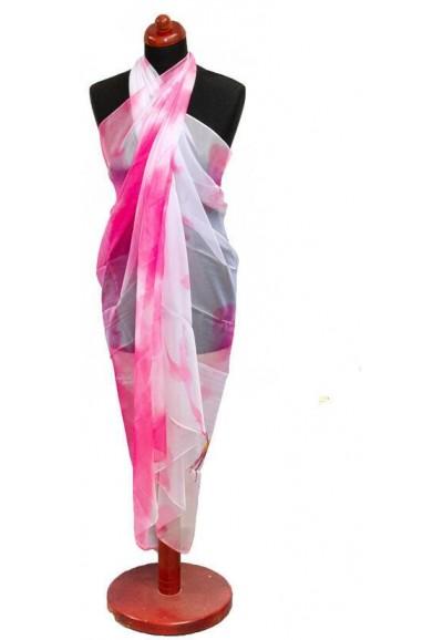 Pareo dámské - růžovo-bílé s potiskem