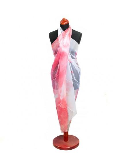 Pareo dámské - červeno-bílé s potiskem