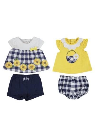 Mayoral - dívčí komplet tričko žluté+modrá kostka šortky