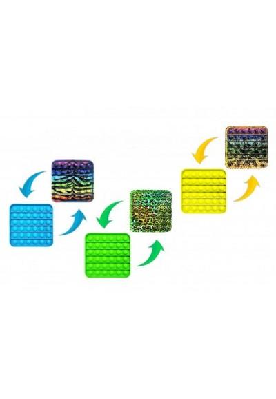 Bubble pops - Praskající bubliny silikon antist. spol. hra  4 barvy zvířecí vzor 12,5x12,5cm v sáčku